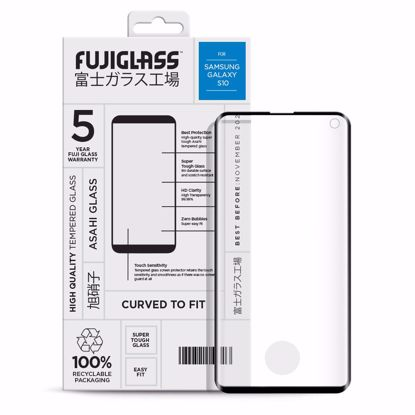 Picture of Fuji Fuji Curved-to-fit Screen Protector for Samsung Galaxy S10 in Clear/Black
