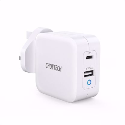 Picture of Choetech Choetech PD UK 65W USB-A/USB-C Dual Mains Charger in White (No Cable)